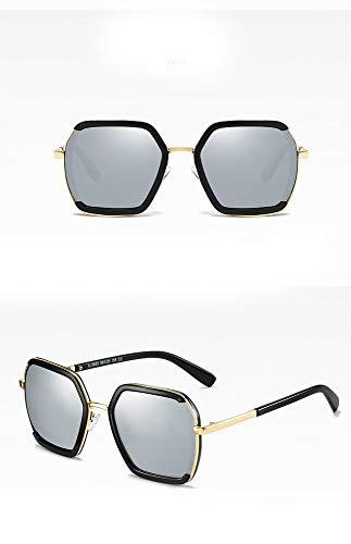 MeiqiLN Sonnenbrille-Art- Und Weisepersönlichkeit-Polygonale Metallgroße Rahmen-Gläser 5.86 * 2.16In Helles Quecksilber