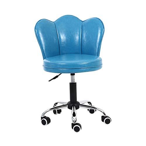LSRRYD Bürostuhl Drehstuhl Mit Rollen Schreibtischstuhl Höhenverstellbar Kunstleder Esszimmerstuhl/Rückseite Loungesessel (Farbe : Blau) -