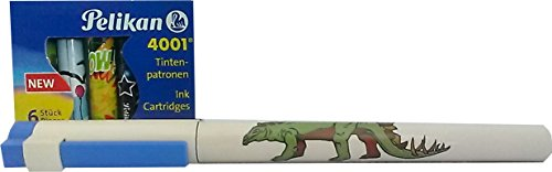 PP Premium Printware Bundle Schneider Motiv-Schulfüller Feder A, Dino-Motiv inkl. 1 Packung Pelikan Tintenpatronen bunt 1 Premium Bundle