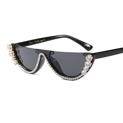 Z&HA Katzenauge Sonnenbrille Crystal verschönert Gläser Resin Frame/Delicate Halbrahmen Schwarze Ton Brillen,Halfframe