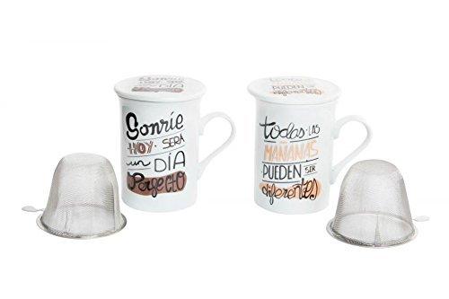 Tazas con filtro y tapa diseño original frases positivas (Set de 2 tazas) 280cc