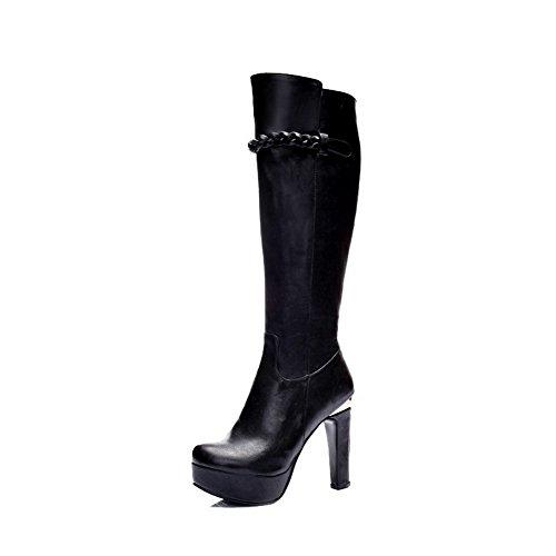 AllhqFashion Damen Hoher Absatz Rein Rund Zehe Reißverschluss Stiefel mit Metallisch, Schwarz, 37