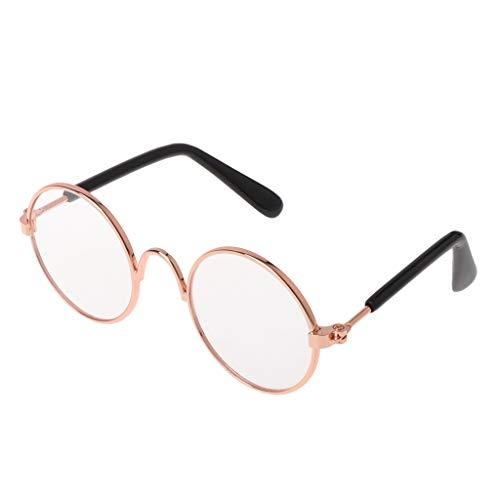 YounggerY Pet Gafas Traje Gafas de Sol Redondas Divertidas Accesorios de Moda Dog Cat Supply Products Gold + Clear Lens