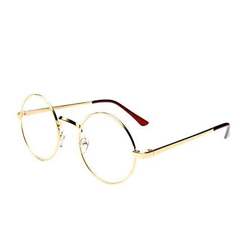 WooCo Retro runde Brille für Damen Herren, Heißer Verkauf Verspiegelte Flachlinse Fashion Classic Unisex Metallrahmen Schwarz, Silber, Grün, Gold, Kaffee(Gold,One size)