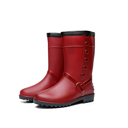 Fad-J Wintermode-Damen Regenstiefel, Mitteltuhr Dicke Samt-Baumwoll-Aussatt-Schuhe, warme Anti-Rutsch-Schuhe,Red,36