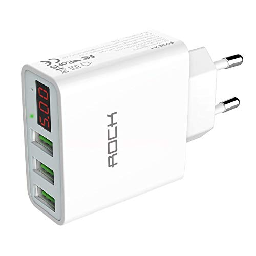Rock Quick Charger 3-Port USB Ladegerät 30W mit LED Digitaler Anzeige Wandladegerät für iPhone, iPad, Samsung Galaxy, Nexus, HTC, LG und weitere (Weiß)