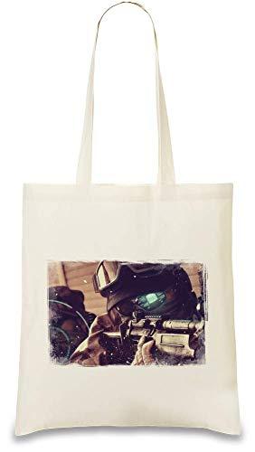 Preisvergleich Produktbild Tom Clancy's Ghost Recon Zukunftssoldat Sniper - Tom Clancy's Ghost Recon Future Soldier Sniper Custom Printed Tote Bag| 100% Soft Cotton| Natural Color & Eco-Friendly| Unique, Re-Usable & Stylish