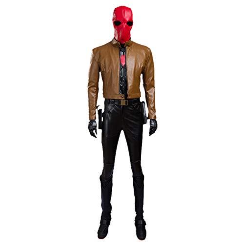 Kostüm Batman Rot - nihiug Batman rote Kapuze Jason Tot Robin Halloween Cosplay Kostüm,Grey-XL