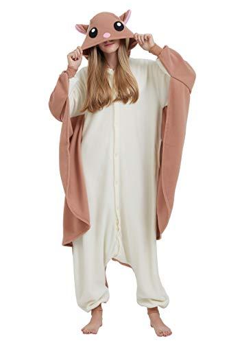 Jumpsuit Onesie Tier Karton Fasching Halloween Kostüm Sleepsuit Cosplay Overall Pyjama Schlafanzug Erwachsene Unisex Lounge Kigurumi Fliegendes Eichhörnchen for Höhe 140-187CM (Für Halloween Tier-kostüme)