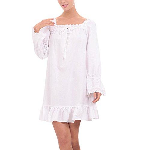 iBaste Damen Nachthemd Baumwolle Reine Farbe Retro-Stil Kleid Schlafanzüge Nachtwäsche Negligees Langarm kurz