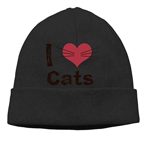 I Love Cats Warm Stretchy Solid Daily Skull Cap Knit Wool Beanie Hat Outdoor Winter Fashion Warm Beanie Hat