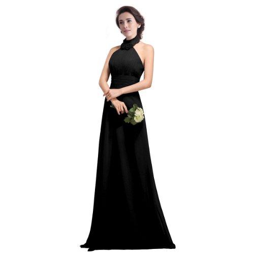 FASHION PLAZA Chiffon bodenlang Abendkleid Brautjungfernkleid mit eleganter Halsschleife D0114 Schwarz