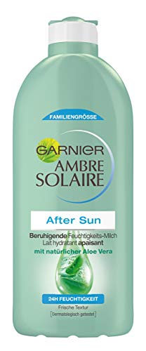 Garnier Ambre Solaire After Sun Beruhigende Feuchtigkeits-Milch, beruhigt und kühlt nach dem Sonnenbad, mit Aloe Vera, 400 ml