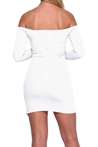 Le Donne Dalla Spalla Manica Lunga Tunica Mini Matita Ufficio Vestito White