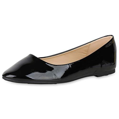 SCARPE VITA Damen Klassische Ballerinas Elegante Slip On Schuhe Lack Slipper Flache Abendschuhe Flats Glitzer 181580 Schwarz Lack 39