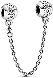 Pandora Women's Sterling Silver Hearts Safety Chain - 79108