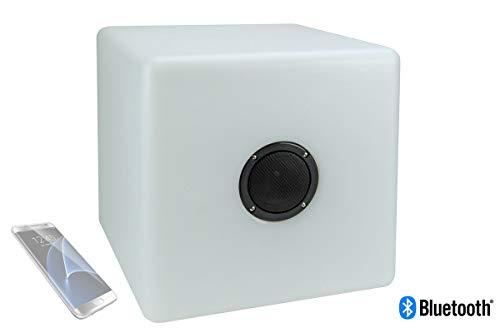 Luminatos 5S, LED Cube/Hocker 40cm beleuchtet mit Farbwechsel Fernb. und Lautsprecher -
