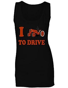 Amo conducir arte divertido del vintage del tractor camiseta sin mangas mujer vv57ft