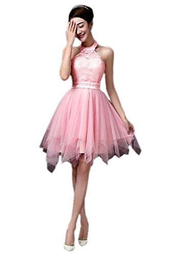 Honeystore Damen's A-Linie/Princess-Linie Knielang Tüll Ärmellos Brautjungfernkleid Abendkleid mit Reißverschluss 28#Rosa (Kostüme Mieten 4)