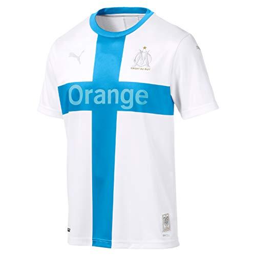 Puma Men's OM INT Shirt Replica SS with Sponsor Jersey, White Bleu Azur, M