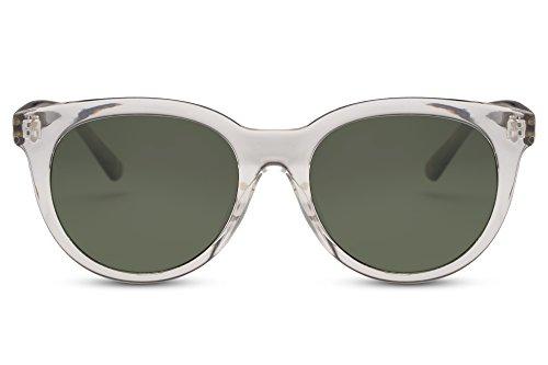 Cheapass Sonnenbrille Rund Transparent Grün Leo-Print UV400 Durchsichtig Damen Herren