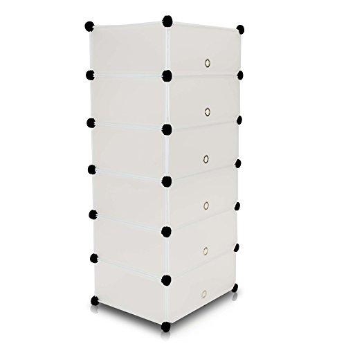 VENKON - Schuh Steckschrank Frei Gestaltbares DIY Regalsystem: 6-Modulfächer mit Türen, satiniert-transparentes Steckregal - 46 x 36 x 18 cm