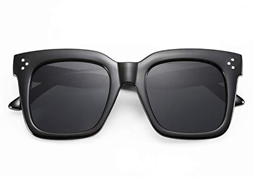 TEN-G Retro Oversized Square Sunglasses for Men Women Thick Plastic Frame B2486 (Black)