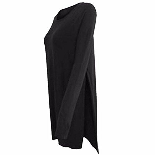 QIYUN.Z Femmes Solide Couleur Furcal T-shirt Melanges De Coton A Manches Longues Hauts Motif Vrac Noir