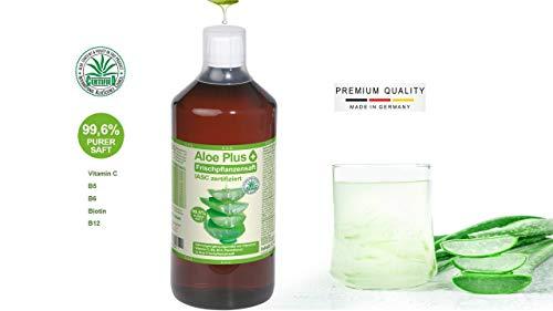 Aloe Vera Trinkgel 99.6% PURER SAFT mit Vitamin C, B5, B6, Biotin, B12, ISAC zertifiziert I Aloe VeraTrinkgel 1 L I Nahrungsergänzung I Premium Qualität | Aloe Plus von Secret Essentials