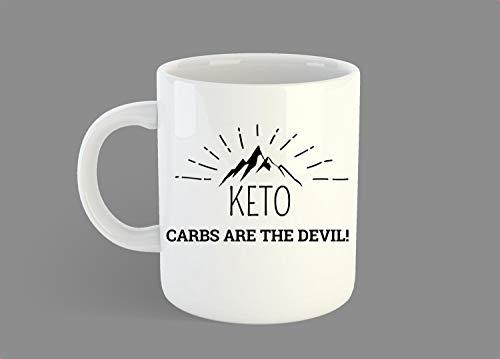Keto Diet Kaffeetasse, Ketose, Healthy Living, Keto-Geschenk, Keto-Inspiration, lustiges Keto-Geschenk, Carbs are The Devil, Low Carb Diet - 325 ml Kaffeetassen - 425 g