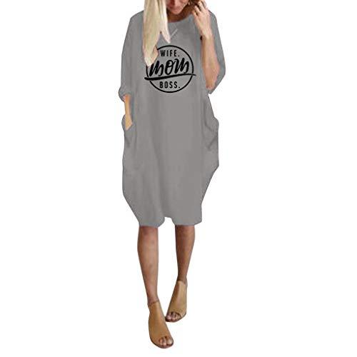 Floweworld Damen Langarm Kleider Fashion Rundhals Solide Printed Casaul Kleider Kurze Kleider Damen Mini Kleider mit Taschen