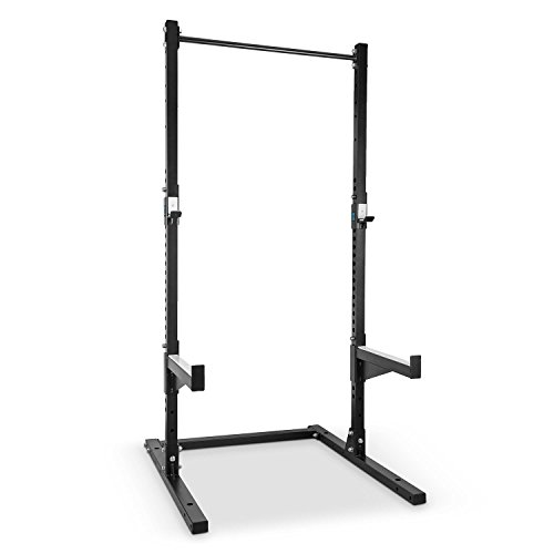 CAPITAL SPORTS Rackster Half Rack • Squat Rack • Kniebeugenständer • Hantelstation • 2 x Safety Spotter: max. 250kg, 60 cm Prallfläche • 2 x J-Cups: max. 250 kg • 22-stufig • Klimmzugstange • 3-stufig • Stahlrahmen • Pulverbeschichtung • schwarz