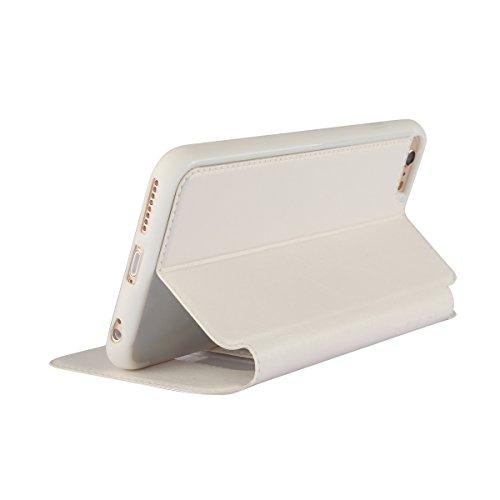 MOONCASE iPhone 5S Étui en Cuir Housse de Protection Case à rabat pour iPhone 5 5S - avec View Window Case Noir Blanc