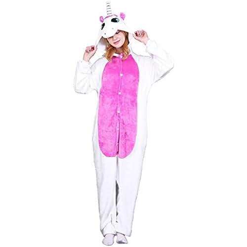 pijama de unicornio kawaii Tuopuda Kigurumi Pijamas Unicornio Unisexo Adulto Traje Disfraz Pijamas de Animales enteros Cosplay Animales de Vestuario Ropa de Dormir Halloween y Navidad