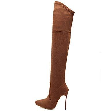 RTRY Scarpe Da Donna In Pelle Nubuck Autunno Inverno Comfort Novità Moda Stivali Stivali Stiletto Heel Punta Stivali Thigh-High Zipper Per Office US7.5 / EU38 / UK5.5 / CN38