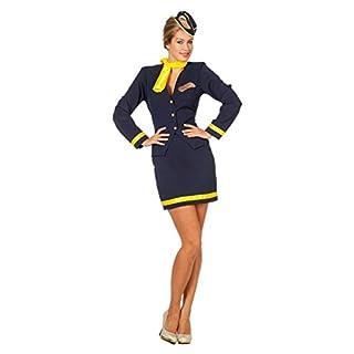 The Fantasy Tailors Stewardesse-Kostüm Damen Dunkel-Blau Rock Oberteil Mütze Schal Karneval Fasching Hochwertige Verkleidung Fastnacht Größe 36 Blau
