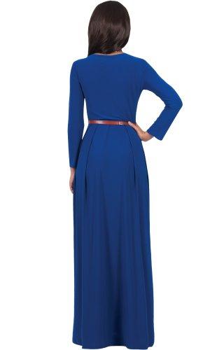 KOH KOH® Damen Langarm Maxikleid Elegant Abendkleid V-Ausschnitt Kobaltblau