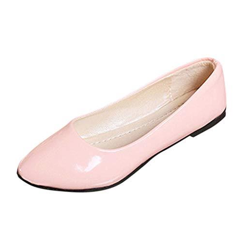 VJGOAL Damen Freizeitschuhe, Damen Mode Spitzschuh Basic Solid Slip On Flachen Sandalen Casual Bunte Mary Jane Schuhe (Rosa, 39 ()