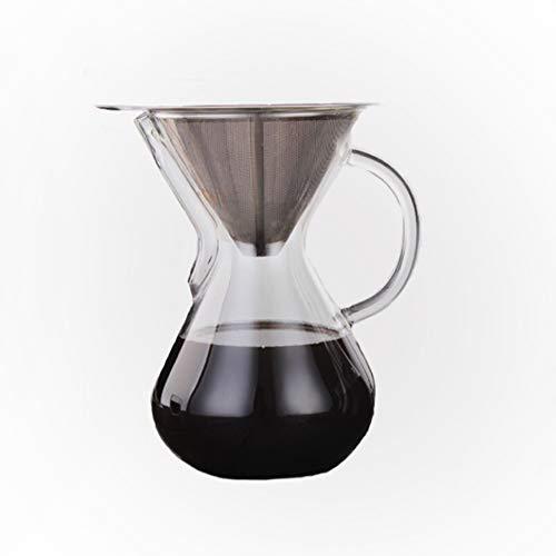 Lugoda Pour Over Kaffeebereiter, 800ml Glas Kaffeekaraffe mit feinen Dauerfilter aus Edelstahl und Glashenkel (800ml, 6 Tassen)