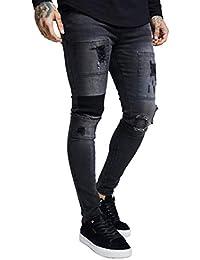 Sik Silk Drop Crotch Patch Denims Washed Pantalones Hombre Azul