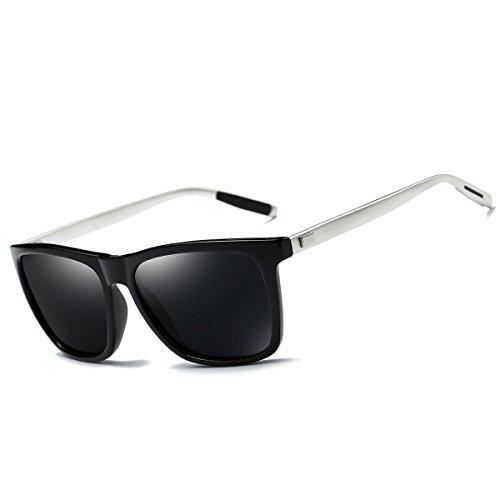 FEIDU Gafas de sol Wayfarer polarizadas para hombres Mujeres Gafas de sol Wayfarer para hombre Unisex FD9003 (Negro, 2.24)