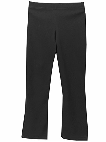 Girls Elasticated Waist Pull Up School Trousers Black, Pull On Stretch Rib Trousers (M/L 14-15 years, Black)
