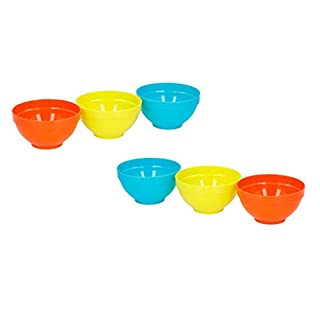 Invero Set of 6 Bright and Colourful Reusable Plastic Children's Kids Food Bowls Ideal for Outdoor Parties, Picnics, BBQ's, Travels and more