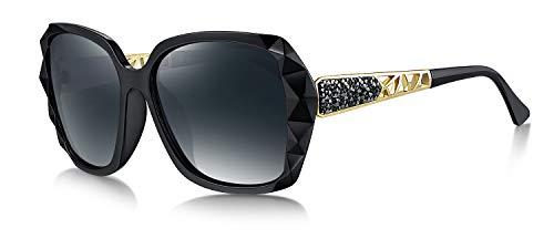 WHCREAT Damen Übergröße Polarisierte Sonnenbrille Funkelndes Design Stilvoll Brillen (Schwarzer Rahmen - Grau Linse)