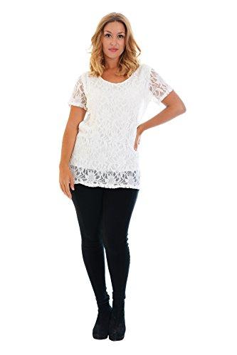 Neues Damen Übergrößen Klappen Spitze Top Frauen Tunika Blumen Ladies Plus Size T-Shirt Lace Nouvelle Collection Sahne