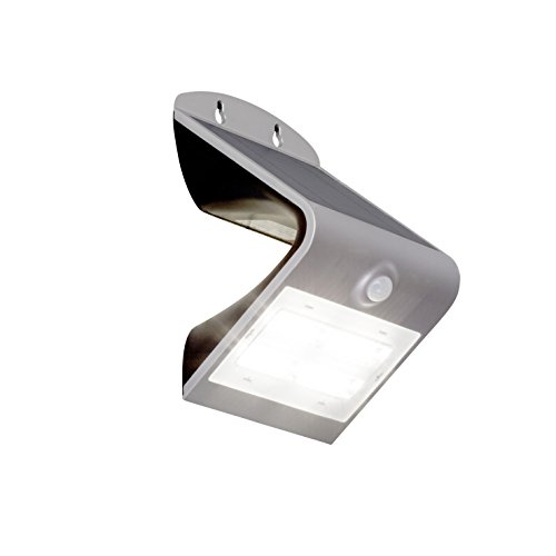 LED Solar Außenwandleuchte mit Bewegungsmelder, 1x 3.2W LED integriert, 1x 400 Lumen, 4000K, silber