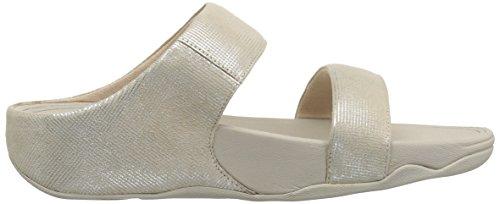 Fitflop Lulu Slide Sandals-Shimmer-Check, Sandali Punta Aperta Donna Grey (Stone)