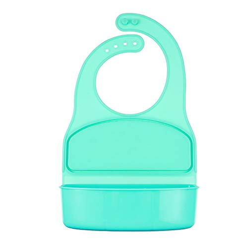 FeiliandaJJ Multifunktional Baby Lätzchen Lunchbox, 100% Wasserdicht Essbare Sicherheit Silikon,Kinder baby Jungen Mädchen Lätzchen für Obst Essen,6 Monate bis 6 Jahre alt (Grün)