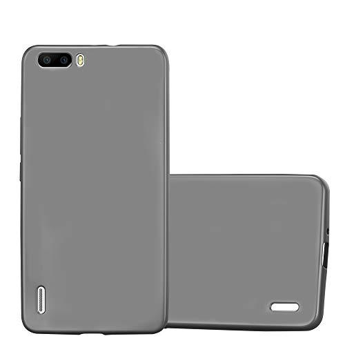 Cadorabo Hülle für Honor 6 Plus - Hülle in METALLIC GRAU – Handyhülle aus TPU Silikon im Matt Metallic Design - Silikonhülle Schutzhülle Ultra Slim Soft Back Cover Case Bumper