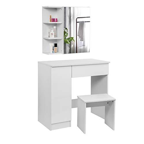 WOLTU MB6046ws Coiffeuse Table de Maquillage avec Miroir Plateau façade Brillant avec Tabouret, 80x44x134cm, Blanc
